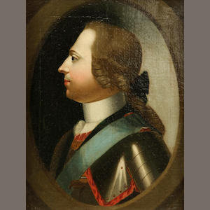 German School A portrait of a nobleman, shoulder-length, in an ornate frame 10 x 8in