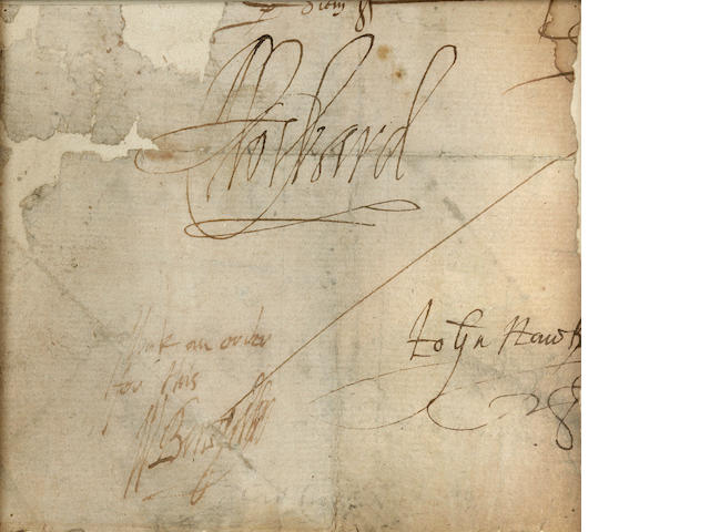 HAWKINS, JOHN, SIR WILLIAM CECIL, and LORD CHARLES HOWARD. Manuscript section of a document with the signatures of Hawkins, Burghley and Howard,