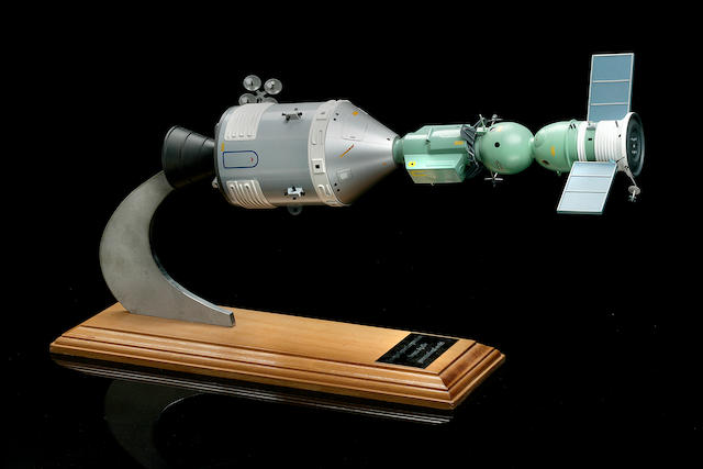 APOLLO-SOYUZ TEST PROJECT MODEL. Model of the American Apollo CSM and Russian Soyuz docked,
