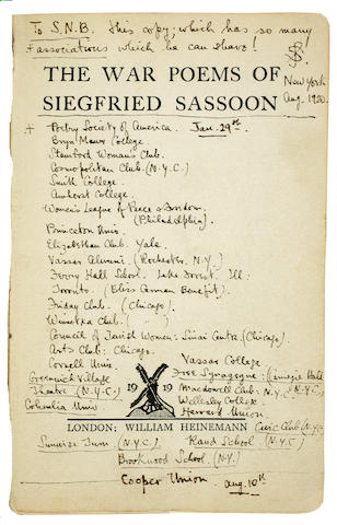 SASSOON, SIEGFRIED. 1886-1967. The War Poems. London: William Heinemann, 1919.<BR />