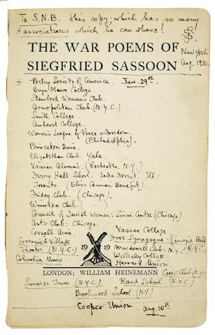 SASSOON, SIEGFRIED. 1886-1967. The War Poems. London: William Heinemann, 1919.<BR />
