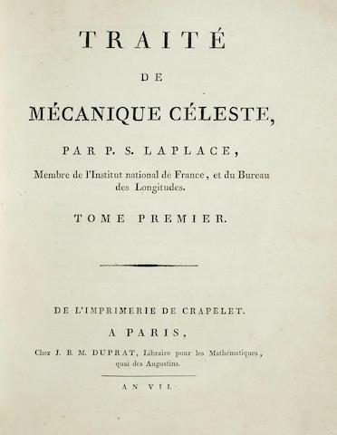 """LAPLACE, PIERRE SIMON DE. 1749-1827. Traité de mécanique céleste. Paris: J.B.M. Duprat / Courcier, """"An VII"""" [1798]-1805.<BR />"""