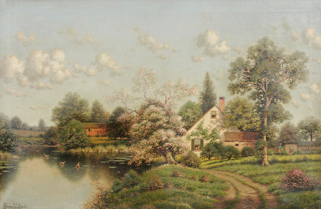 George W. Drew (American, 1875-1968) A river landscape with cottage