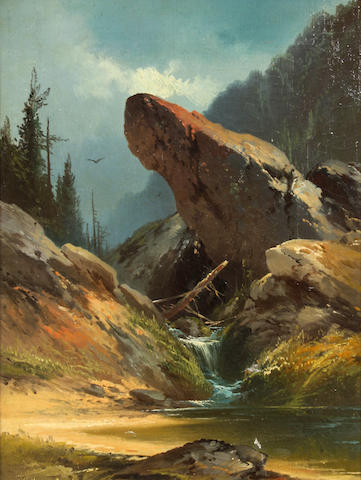 Andrew Melrose (American, 1836-1901) A rocky pinnacle above a stream