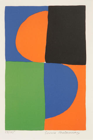 Sonia Delaunay (French, 1885-1979); Untitled color lithograph;