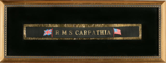 [CARPATHIA] A sailor's hat band<BR /> early 20th century 7 x 18-1/2 in. (18 x 47 cm.) framed.