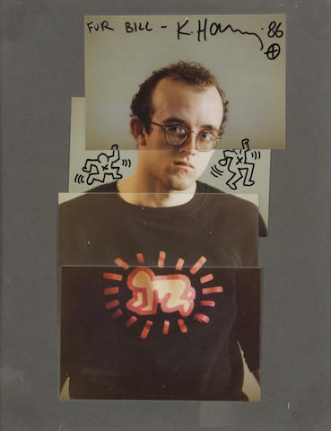 Keith Haring and Zarko Kalmic, Self portrait, color photographic collage, 1986, signed and dated 1986