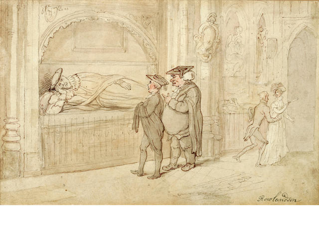 ROWLANDSON, THOMAS. 1756-1827. Original pencil, ink and wash,