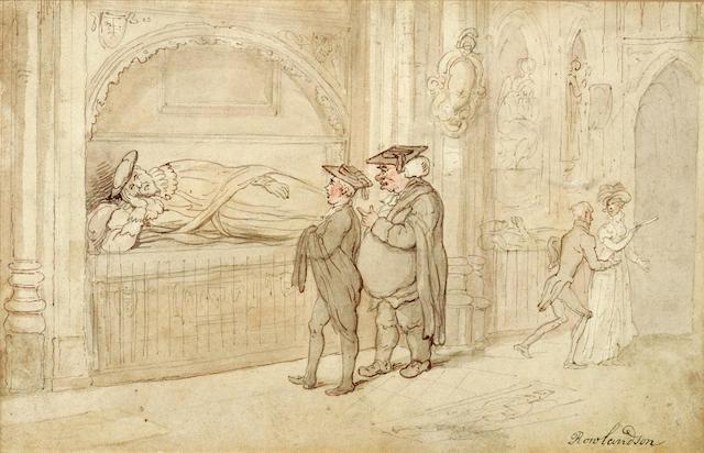 ROWLANDSON, THOMAS. 1756-1827. Original pencil, ink and wash,