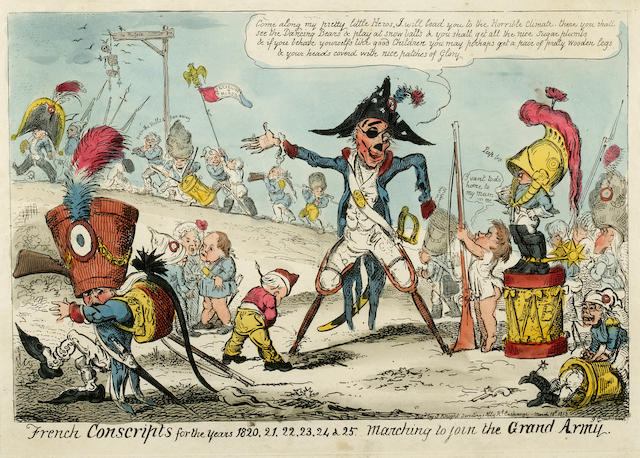 CARICATURE. 1. CRUIKSHANK, GEORGE. French Conscripts for the years 1820.... [London]: S. Knight, 1813.