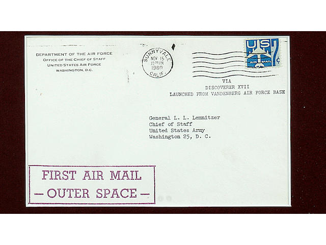 "THE FIRST MAIL TO ORBITAL OUR PLANET. WHITE, THOMAS DRESSER. Typed Letter Signed (""Thomas D. White""), 1 p, XX x YY in, Vandenberg Air Force Base, [November 12, 1960], to General Lyman L. Lemnitzer"