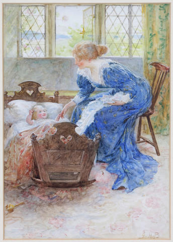George Henry Boughton (American, 1833-1905) Minding Baby 11 x 8in