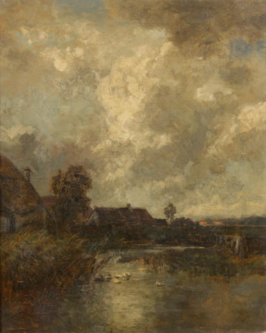 Philipp Röth (German, 1841-1921) Cottages by a pond under cloudy skies 20 x 16in