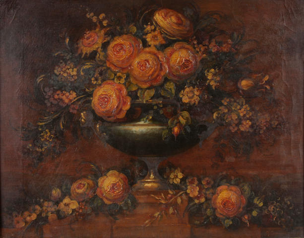 Arturo Orselli (Italian) A rose filled urn 21 x 28in