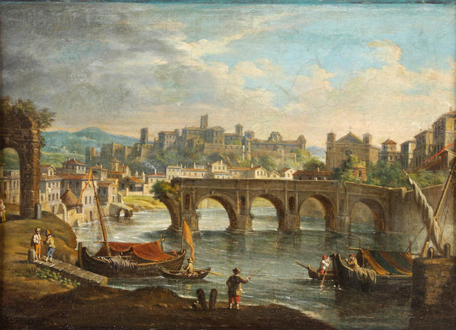 Italian School, 19th Century A view of the Tiber and the Aventine Hill in Rome 10 1/2 x 14 1/2in