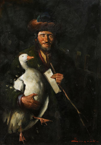 Continental School (20th Century), Man with a duck, oil on canvas, signed indistinctly (lower right), 28 x 19in