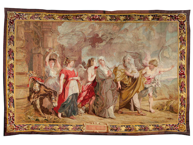 A French Gobelins tapestry depicting Lot's Flight from Sodom inscribed E. Hocheid and dated 1912104 x 70 in.