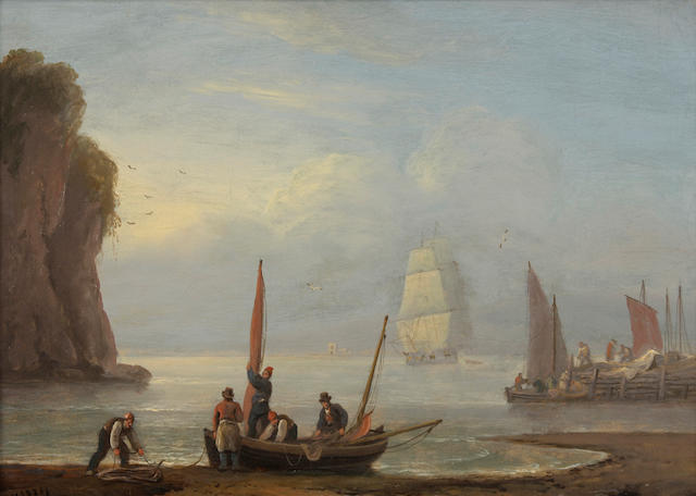 Thomas Luny (British, 1755-1840), On the Scottish Coast, 1836, signed and dated, oil on board, 10 x 13 3/4 inches, framed