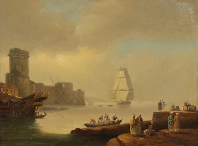 Continental School, 19th Century A North African coastal port 18 x 24in
