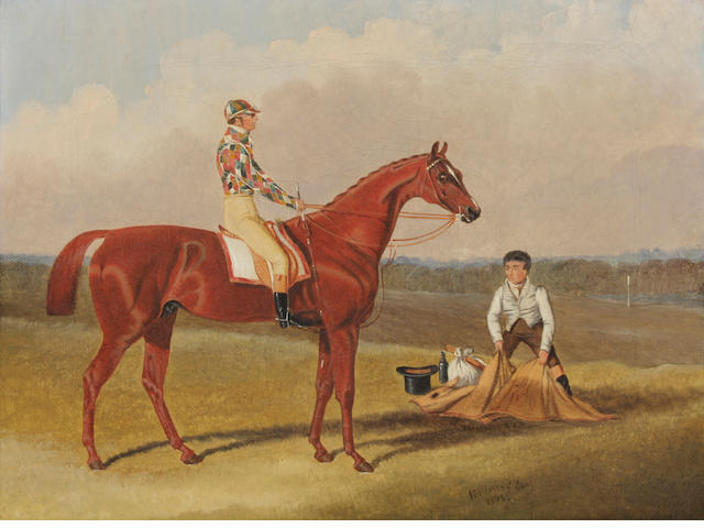 Attributed to John Frederick Herring, Sr. (British, 1795-1865), Barefoot - Winner of the Doncaster St. Leger, Owned by Mr. R. Watt and Ridden by J. Goodeson, 1835, signed and dated, oil on canvas, 9 x 13 inches, framed