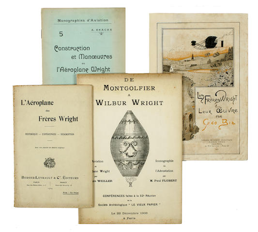 WRIGHT BROTHERS PAMPHLETS. Group of 4 pamphlets, comprising: BRACKE, A. Construction et Manœuvres de l'Aéroplane Wright. Mons: Dequesne-Masquillier & fils, 1909.