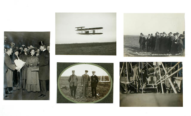 PILOT TRAINING, PAU, EARLY 1909. Group of 5 black and white photographs,
