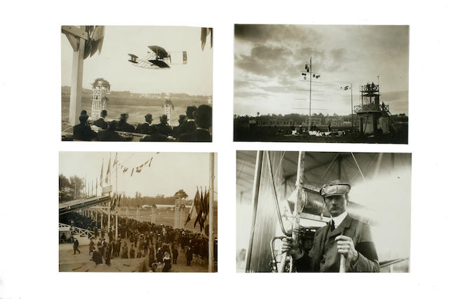 COMTE DE LAMBERT IN A WRIGHT BIPLANE, 1909. Group of 4 black and white photographs,