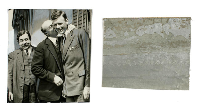 FABRIC FROM LINDBERGH'S SPIRIT OF ST. LOUIS? A square fragment of silver-coated textile,