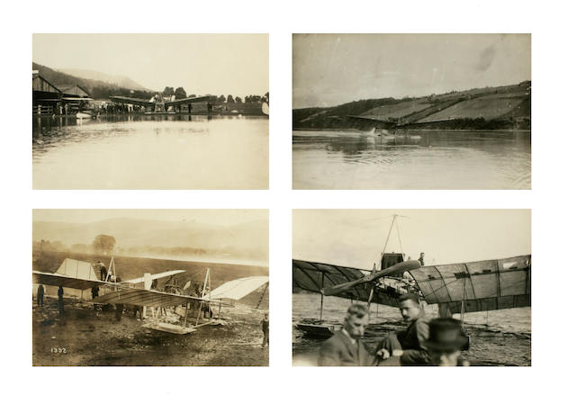 CURTISS' TAKE ON THE LANGLEY AERODROME. Group of 4 black and white photographs,
