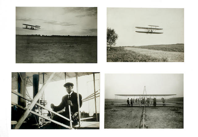 WRIGHT AT CAMP D'AUVOURS, AUGUST 1908. Group of 4 black and white photographs,