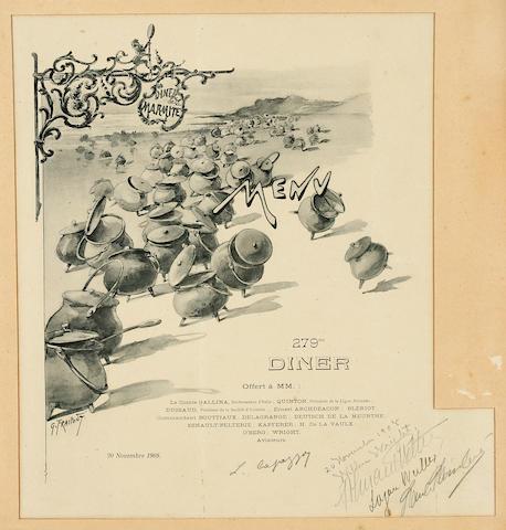 La Marmite dinner menu, 20 November 1908