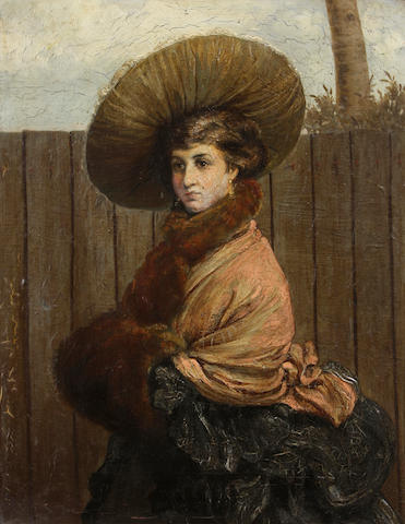 Attributed to Valentin Walter Bromley (British, 1848-1877) A portrait of a lady, half-length, in a fur muff and collar 18 x 14in