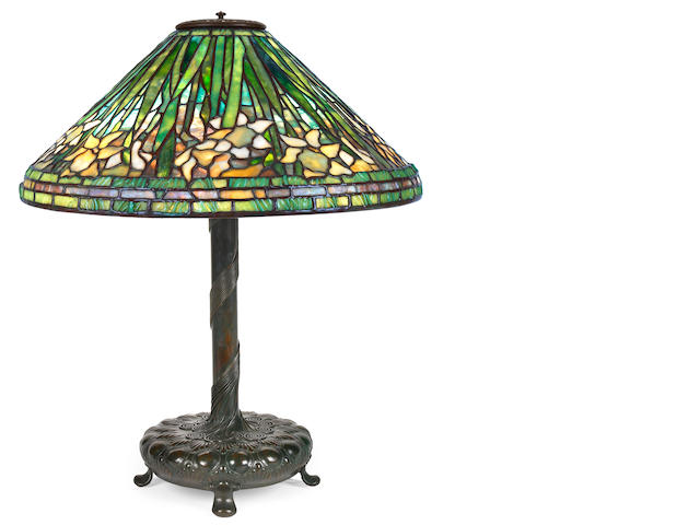 A Tiffany Studios Favrile glass and patinated bronze Daffodil lamp  1898-1919
