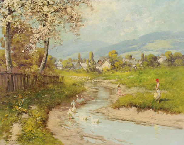 Laszlo Neogrady (Hungarian, 1900-1962) An alpine scene with geese in a stream and a village in the distance 24 x 30in