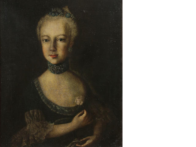 Austrian School A portrait of Marie Antoinette, half-length 20 1/2 x 17in