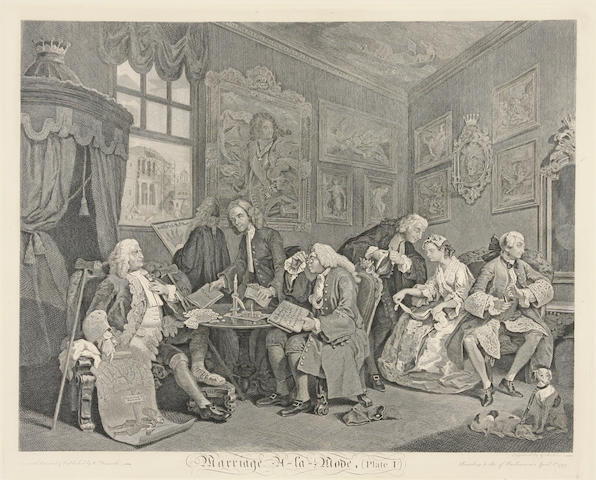After William Hogarth (British, 1697-1764); Marriage à la Mode; (6)