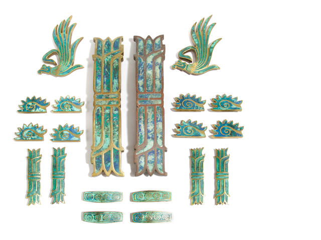 A collection of twenty Pepe Mendoza brass and ceramic handles circa 1958