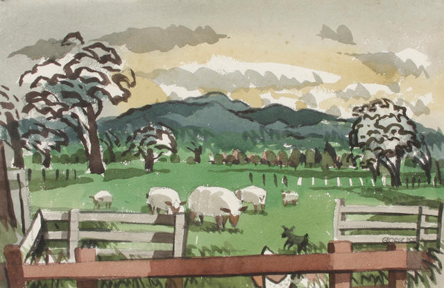 George Booth Post (American, 1906-1997) McCarey's Ranch, Mission Dolores 14 x 22in