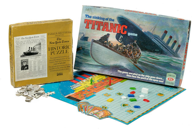 [TITANIC TOYS] A board game and a puzzle<BR /> circa 1976 12 x 20 in. (   cm.) the box of the largest. 2