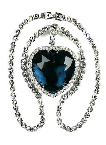"[TITANIC 1997 MOVIE] A reproduction ""Heart of the Ocean"" necklace  1997 10 x 8-3/4 in. (25.4 x 22.2 cm.)"