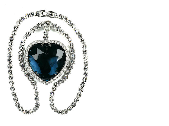 "[TITANIC 1997 MOVIE] A reproduction ""Heart of the Ocean"" necklace<BR /> 1997 10 x 8-3/4 in. (   cm.)"
