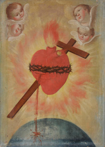 Spanish Colonial School The Sacred Heart surrounded by angels; The lamentation; The Sacred Heart (a group of 3) first 8 1/2 x 6 1/2in; second 14 x 10in; third 29 x 21 1/2in