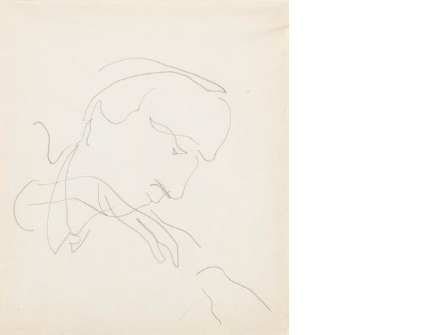 Charles Demuth, A group of three works: Head of a Man No. 3, Two Profiles, Untitled (180 ft. waterline) double sided, profile on the verso, Not signed (each), Pencil on paper (each), 8 x 6 1/4 inches (first two), 3 ½ x 4 ¾ inches (third)