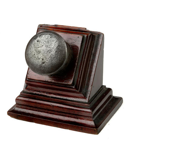 [HARLAND & WOLFF] A memorial rivet for R.M.S. Titanic<BR /> 1912 1-3/4 in. (   cm.) diameter of the rivet head; 4 in. (... cm.) height on stand. 2