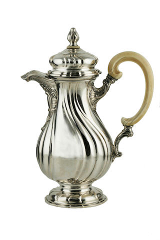 A Czechoslovakian 800 standard silver and ivory coffee pot  second quarter 20th century