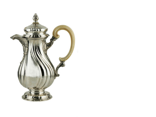 A French or Belgian silver and ivory coffee pot late 18th century