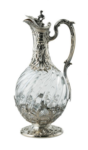 A French first standard silver mounted glass ewer late 19th century