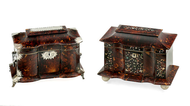 Two tortoiseshell tea caddies including a late Georgian example and a Victorian example  the first circa 1812, the second mid- to late 19th century