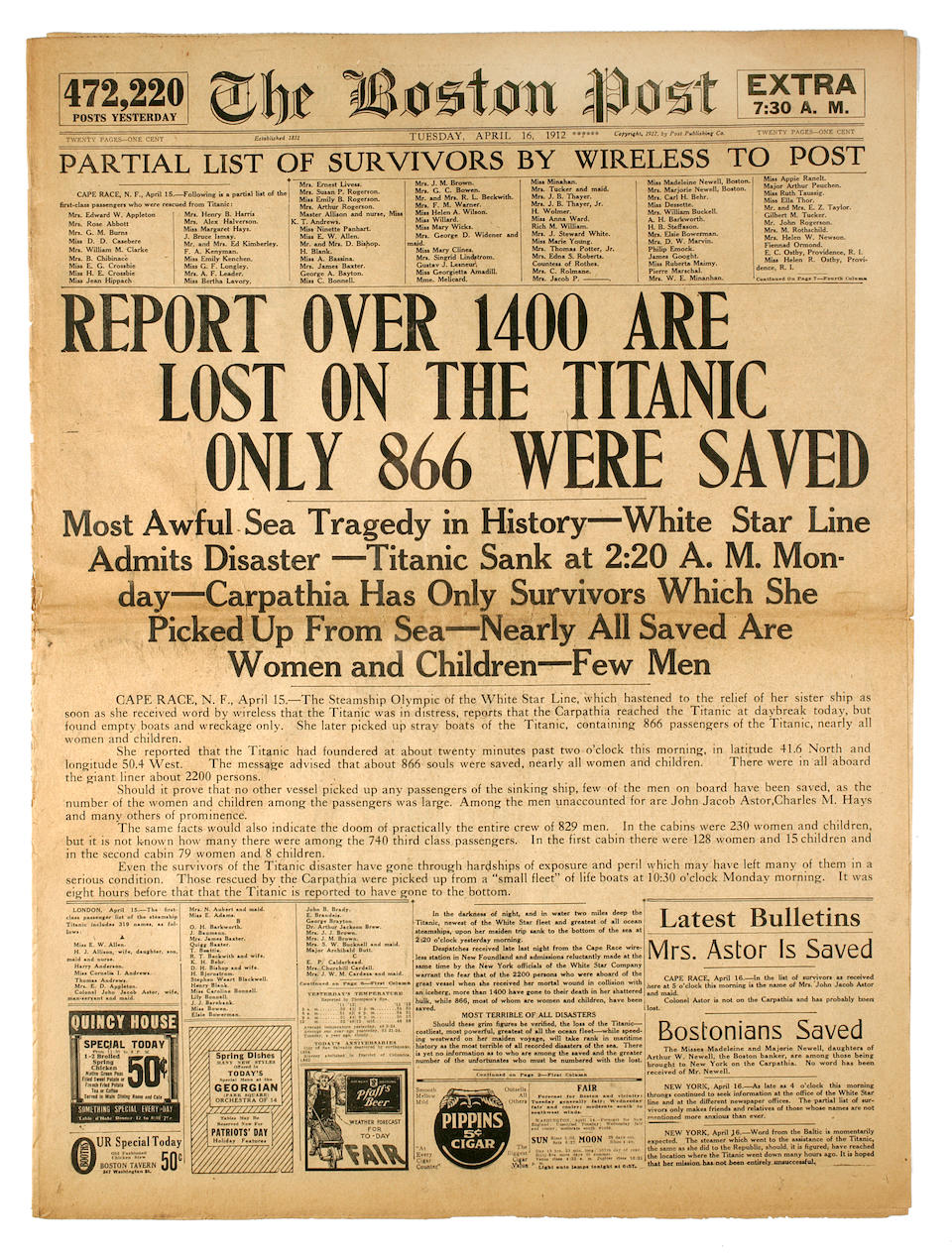 [TITANIC] A collection of newspapers relating to the disaster  16 x 11 in. (40.6 x 27.9 cm.) 4