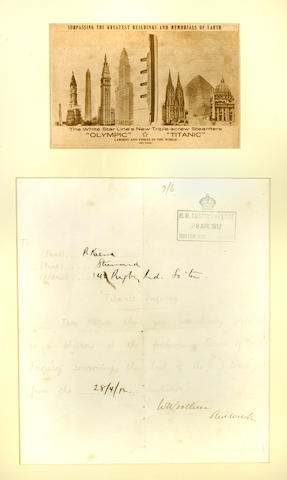 [TITANIC] A subponea for the London Board of Trade Inquiry<BR /> 28 April 1912 18 x 12 in. (   cm.) framed.